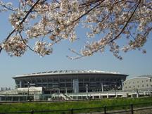 日産スタジアムと桜2