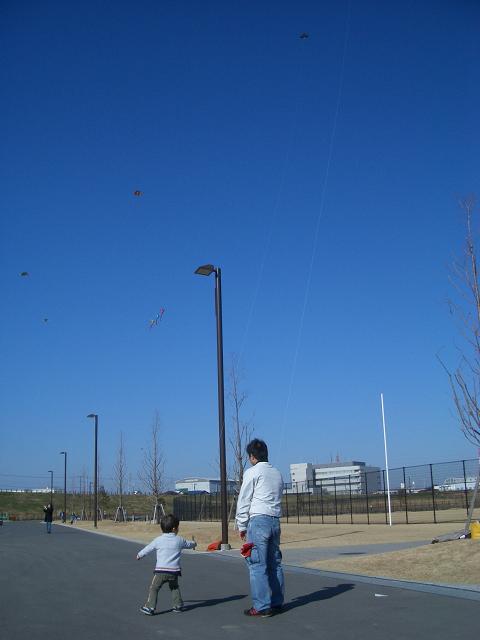 親子でほのぼの凧揚げです!